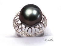 Luxurious 14.5mm Black Tahitian Pearl Ring In 925 Sterling Silver