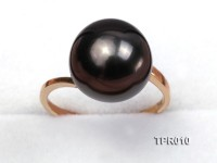 Elegant 12mm Black Tahitian Pearl Ring In 14k Gold