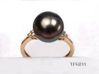 Elegant 11.5mm Black Tahitian Pearl Ring In 18k Gold and Diamond