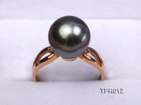 Elegant 11.5mm Black Tahitian Pearl Ring In 14k Gold and Zircon