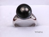 Classic 12.6mm Black Tahitian Pearl Ring In 18k White Gold