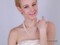 2 strand  White  freshwater pearl necklace