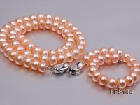 9-10mm Pink Flat Freshwater Pearl Necklace and Bracelet Set