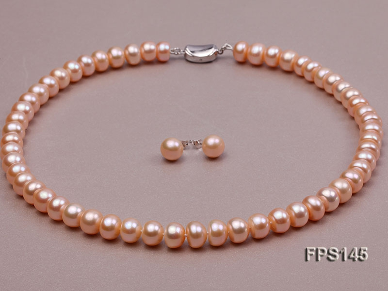 9-10mm Pink Flat Freshwater Pearl Necklace and Stud Earrings Set
