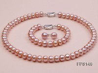 9-10mm Lavender Flat Freshwater Pearl Necklace, Bracelet and Stud Earrings Set