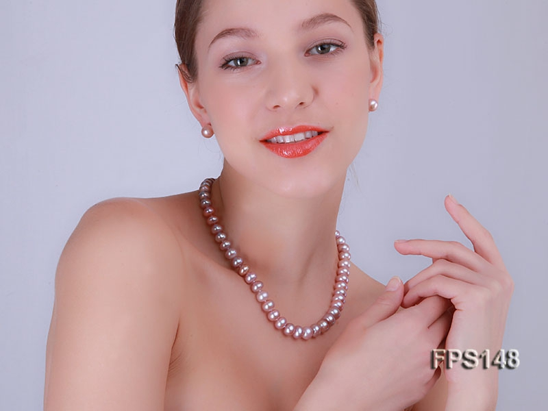 9-10mm White Lavender Freshwater Pearl Necklace and Stud Earrings Set
