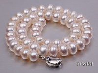 11-12mm AA White Flat Freshwater Pearl Necklace and Stud Earrings Set