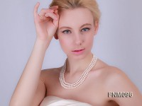 3 strands White freshwater pearl necklace