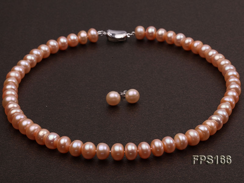 c58e0831cf4 10-11mm AA Pink Flat Freshwater Pearl Necklace and Stud Earrings Set ...