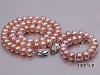 10-11mm AA Lavender Flat Freshwater Pearl Necklace and Bracelet Set