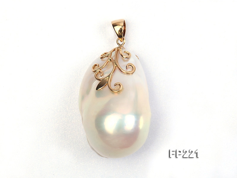 22x30mm Top-grade Baroque Freshwater Pearl Pendant with an 18k Gold Pendant Bail