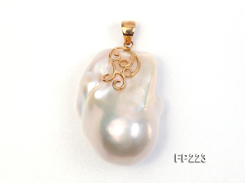 25x35mm Top-grade Baroque Freshwater Pearl Pendant with an 18k Gold Pendant Bail