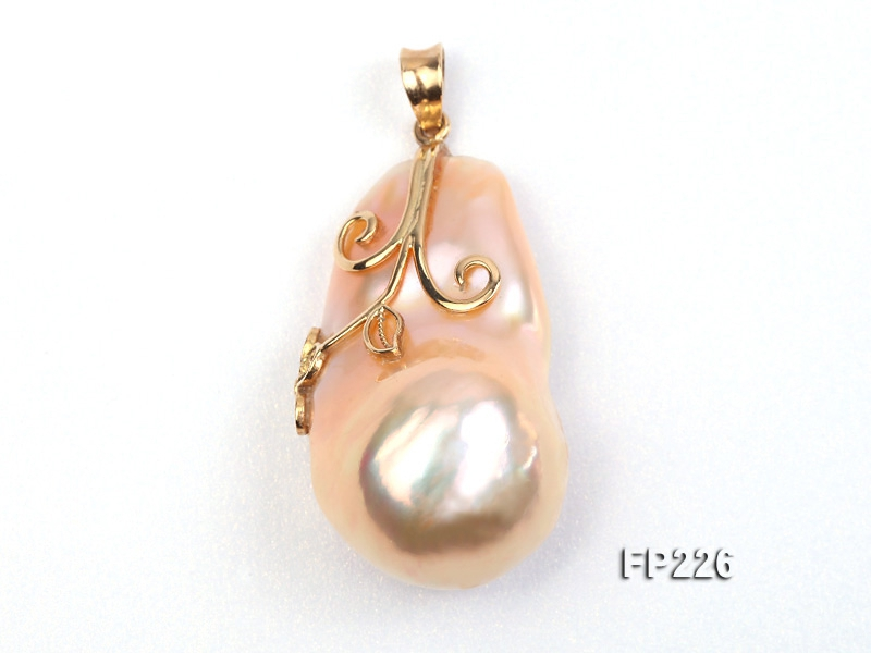 20x32mm Top-grade Baroque Freshwater Pearl Pendant with an 18k Gold Pendant Bail