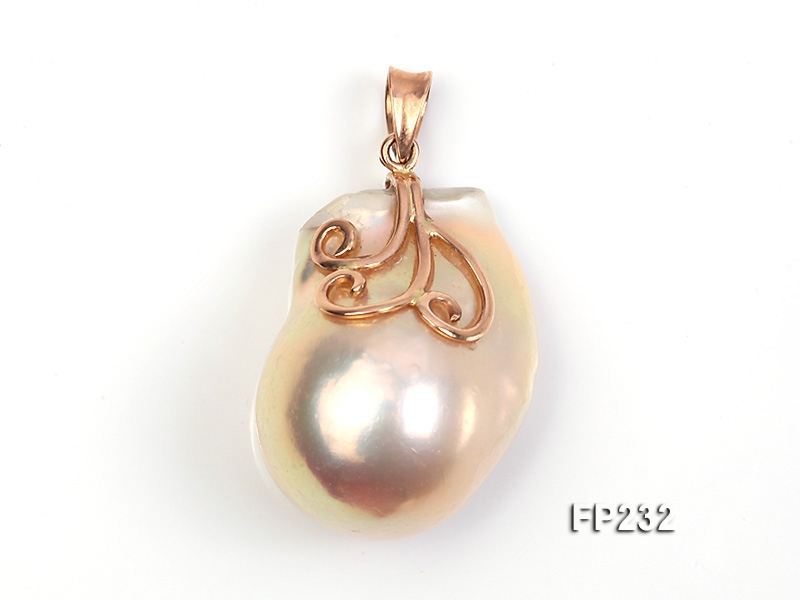 20x28mm Top-grade Baroque Freshwater Pearl Pendant with an 18k Gold Pendant Bail
