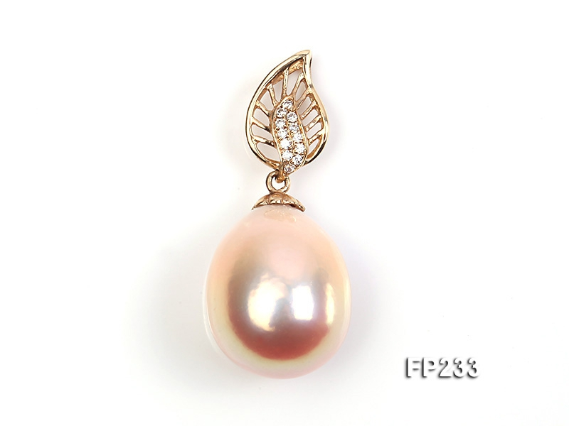 18x20mm Top-grade Drop-shaped Freshwater Pearl Pendant with an 18k Gold Pendant Bail