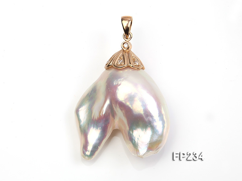 28x30mm Baroque Top-grade Freshwater Pearl Pendant with an 18k Gold Pendant Bail