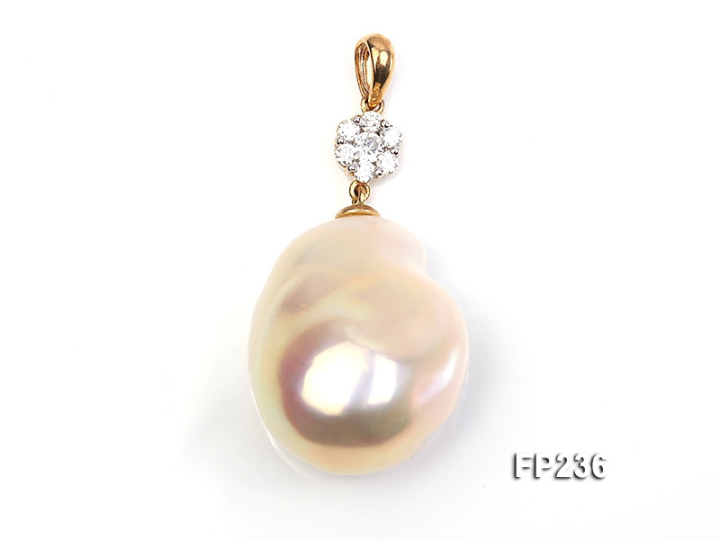 22x28mm Baroque Top-grade Freshwater Pearl Pendant with an 18k Gold Pendant Bail