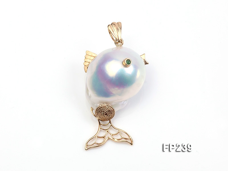 20x30mm Baroque Top-grade Freshwater Pearl Pendant with an 18k Gold Pendant Bail