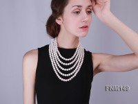 5 strand White freshwater pearl necklace