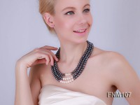 3 strand black freshwater pearl necklace