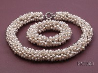 5x8mm White Rice-shaped Freshwater Pearl Necklace and Bracelet Set