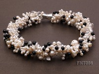 6-11mm White Freshwater Pearl & Black Agate Beads Necklace and Bracelet Set