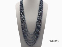 6-7mm black flatfreshwater pearl necklace