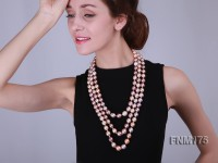 three strands round Edison pearl necklace of large size 11-12mm