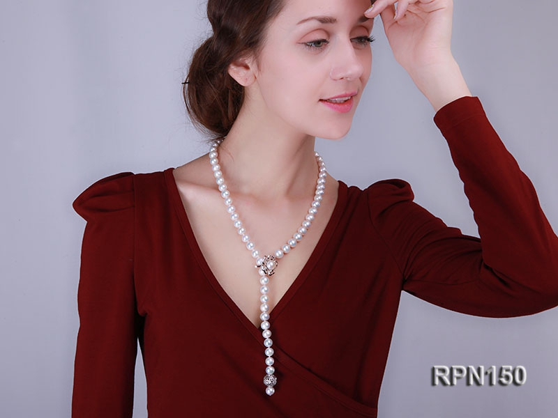 Adjustable 10-11mm Classic White Round Freshwater Pearl Necklace