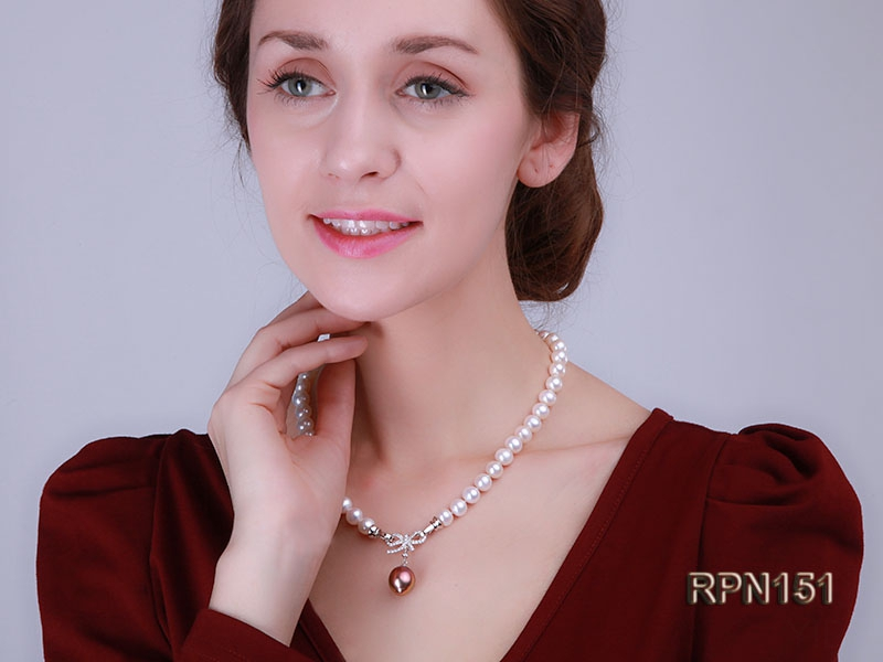 9-10mm Classic White Round Single-strand Pearl Necklace with Lustrous Pearl Pendant