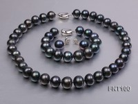 13-15mm Black Freshwater Pearl & Necklace, Bracelet and Earrings Set