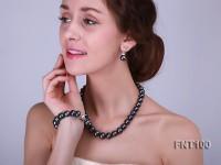 13-15mm Black Freshwater Pearl & Necklace, Bracelet and Earrings Set