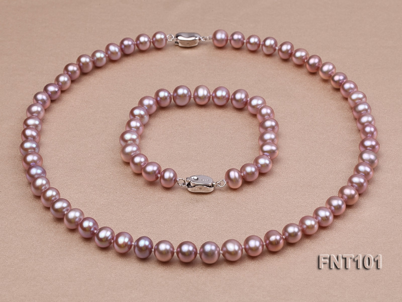 8-9mm Lavender Freshwater Pearl & Necklace and Bracelet Set