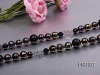 Black 12-13 rice shaped freshwater pearl necklace
