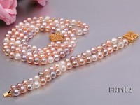 Tow-strand 8-9mm Multi-color Freshwater Pearl Necklace and Bracelet Set