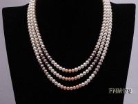 6-7mm Three-Strand Flat Freshwater Pearl Necklace