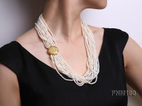 Multi strands freshwater cultures white pearl necklace