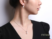 9x10mm White Freshwater Pearl Pendant and Earrings Set