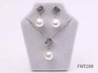 9x11mm White Freshwater Pearl Pendant and Earrings Set