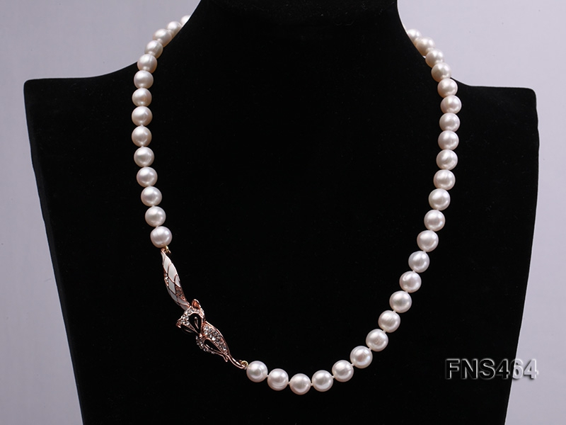 freshwater cultured 8-9mm white pearl necklace