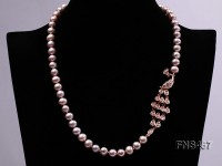 freshwater cultured pearl necklce made with 8-9mm lavender