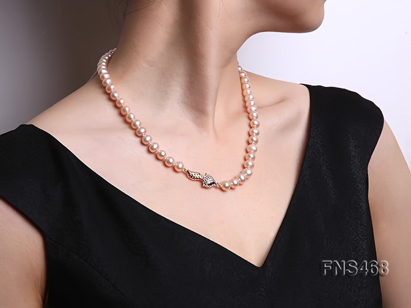 high quality 8-9mm pink flat freshwater pearl necklace