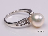 natural 9mm white freshwater pearl ring