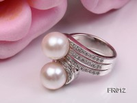 8.5mm white freshwater pearl ring