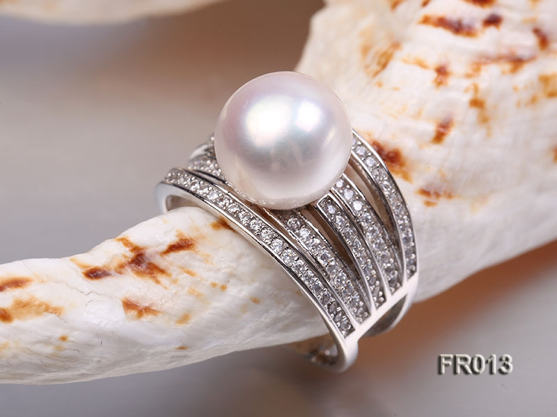 natural 11mm white freshwater pearl ring