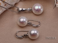 12.5-13.5 White Freshwater Pearl Pendant and Earrings Set