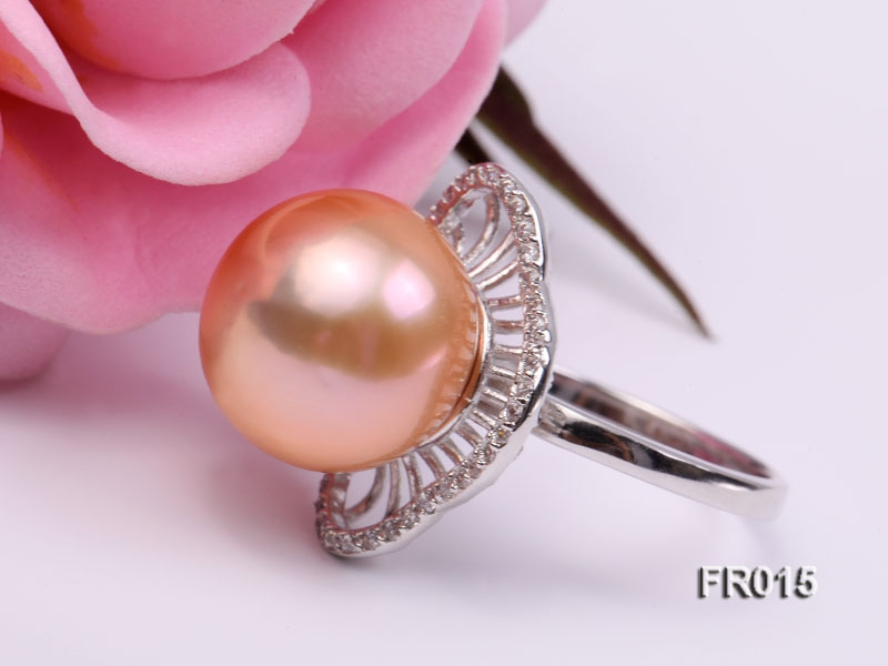 natural 13.5mm pink Edison pearl ring