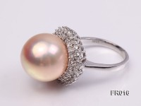 natural 15mm pink edison pearl ring