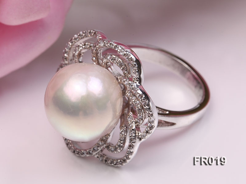 13mm white round Edison pearl ring