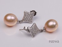 10x11mm Pink Drop-shaped Freshwater Pearl Earring